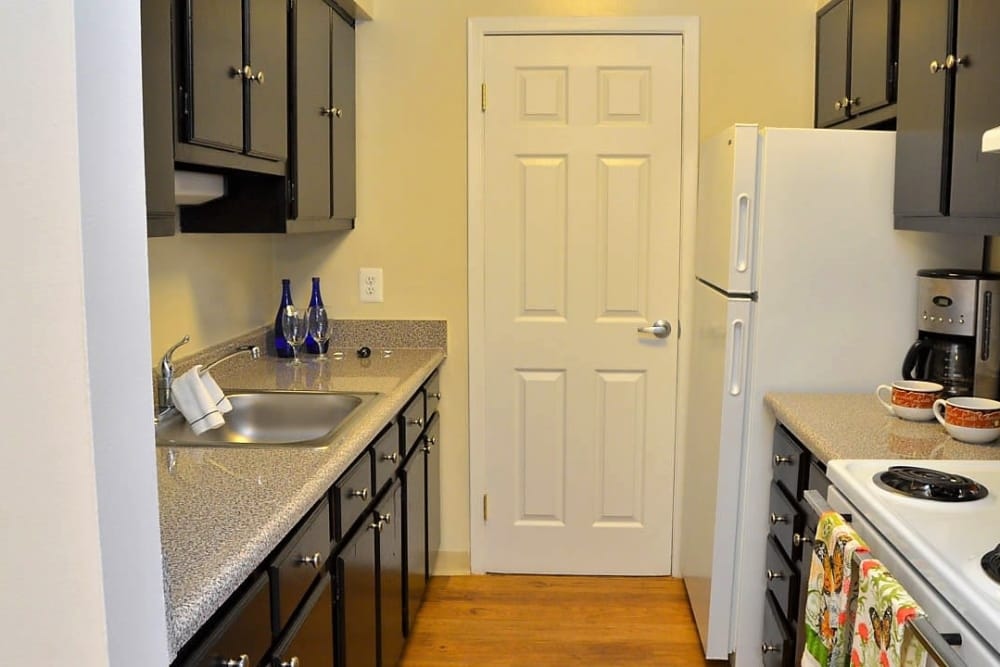A view of the kitchen at Woodland Street Apartments in Baltimore