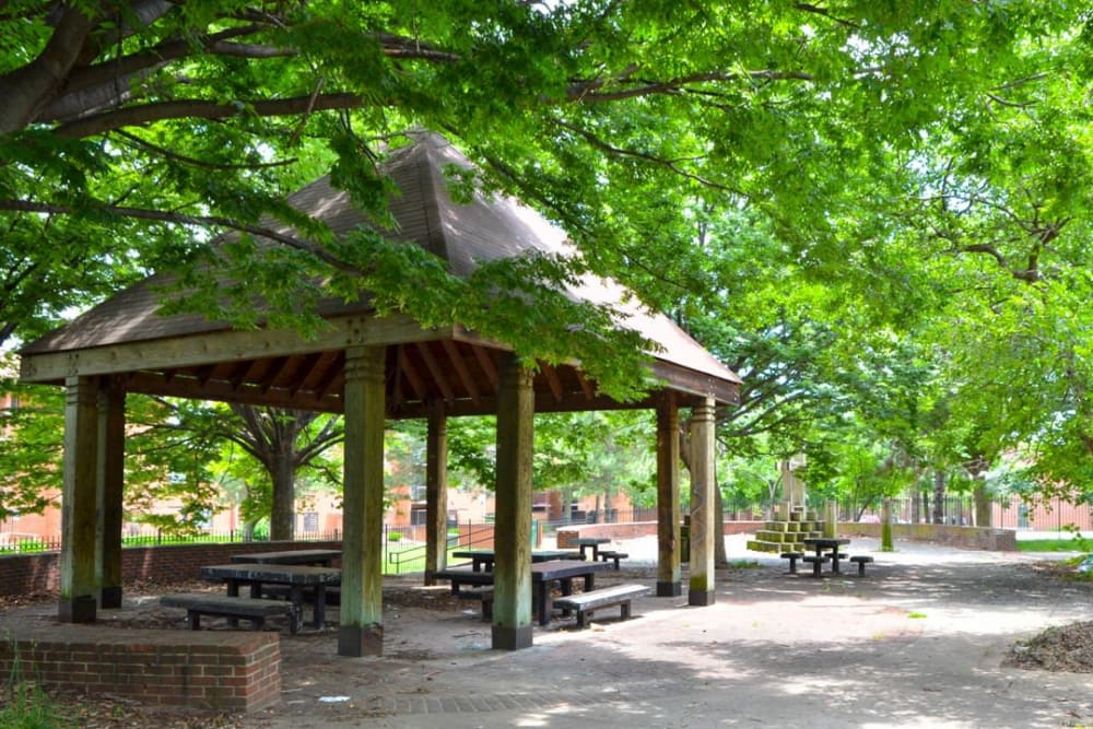 Picnic area outside of Woodland Street Apartments in Baltimore