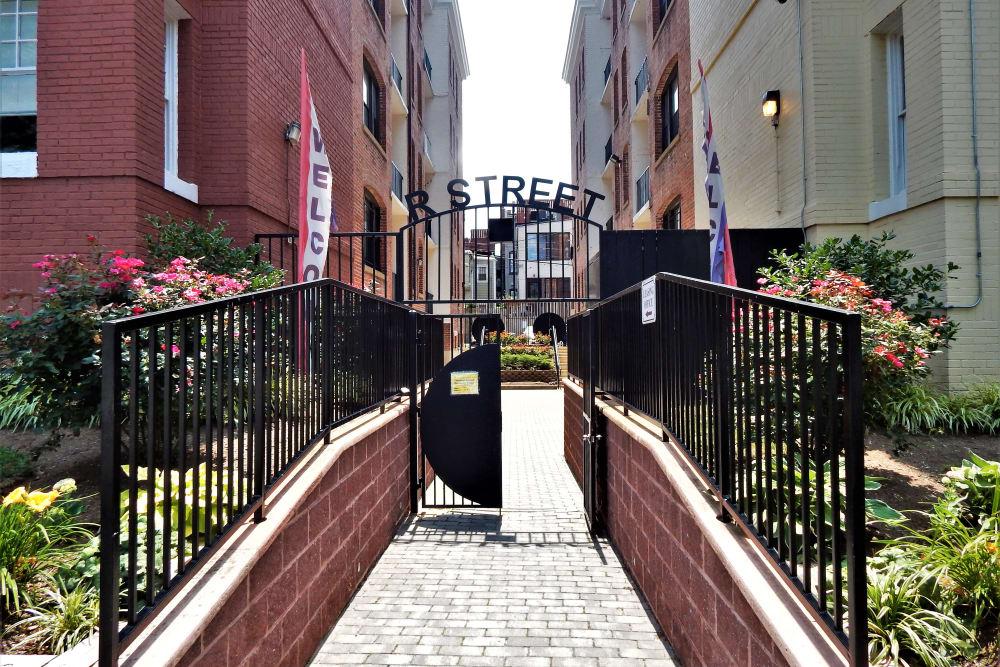 R Street gated entrance