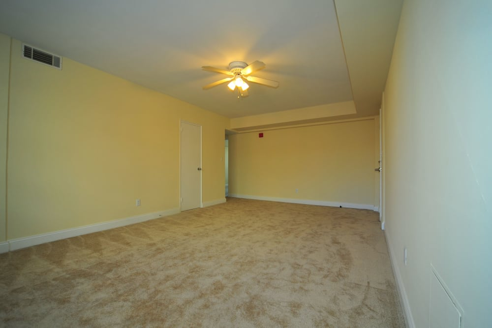Fully carpeted apartment at Montgomery Arms Apartments