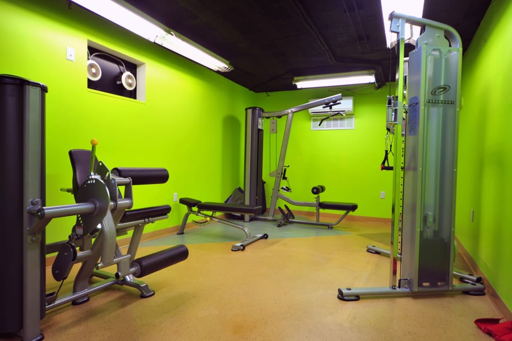 On-site fitness center at Montgomery Arms Apartments