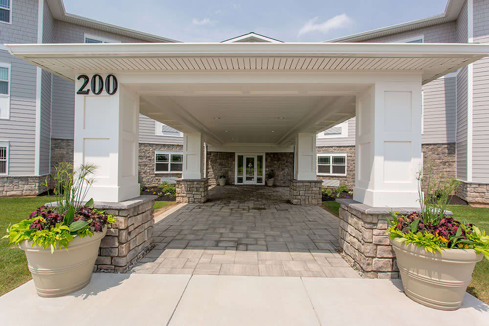 Main entrance view at Villa Capri Senior Apartments in Rochester, NY