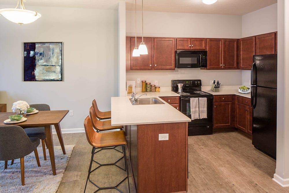 Modern kitchen at Villa Capri Senior Apartments in Rochester, NY