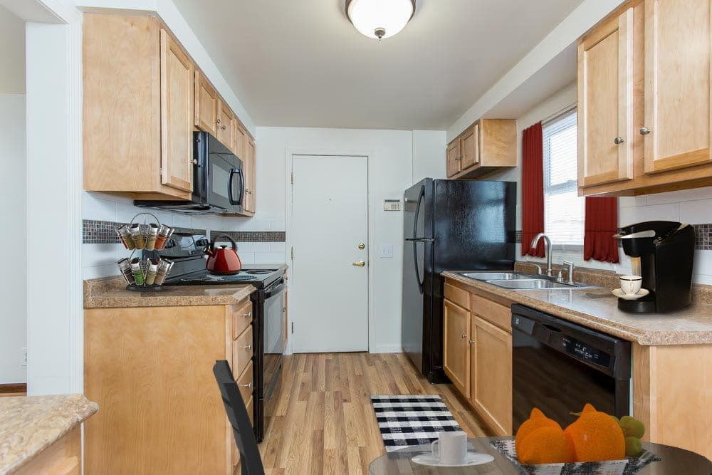 Well-equipped kitchen in apartments at Park Place