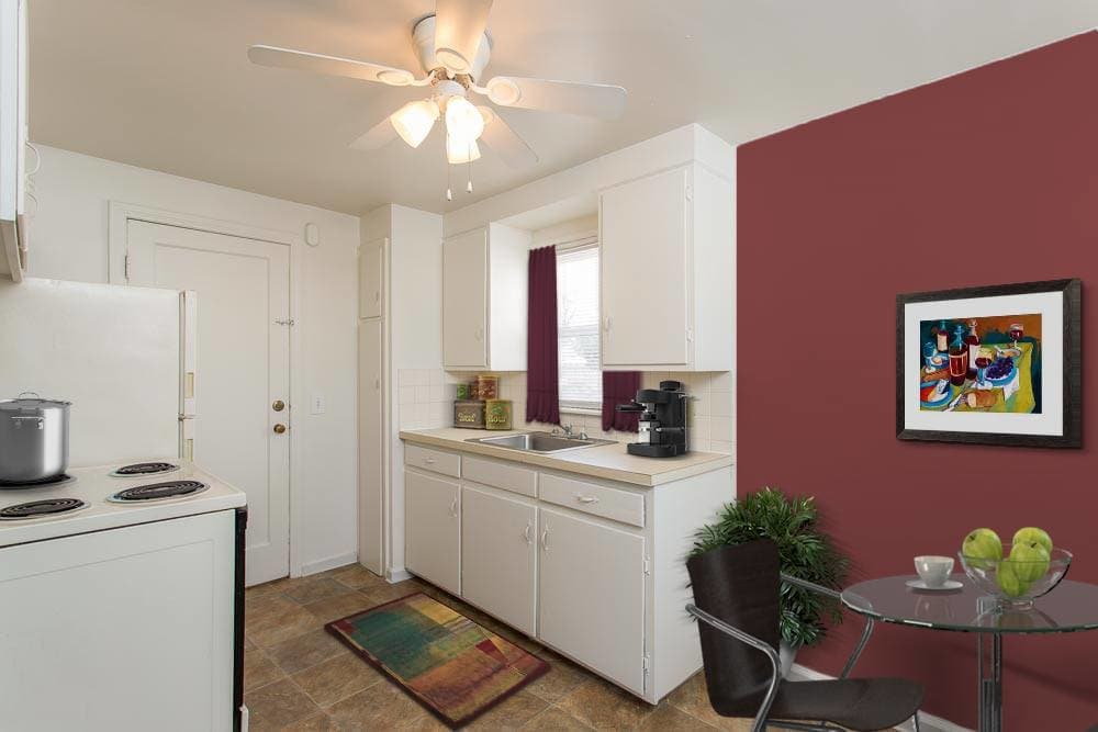 Kitchen in apartments at Park Place