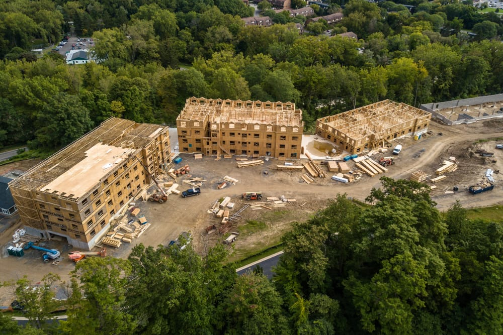 Aerial view of new buildings at Ellison Heights Apartments in Rochester