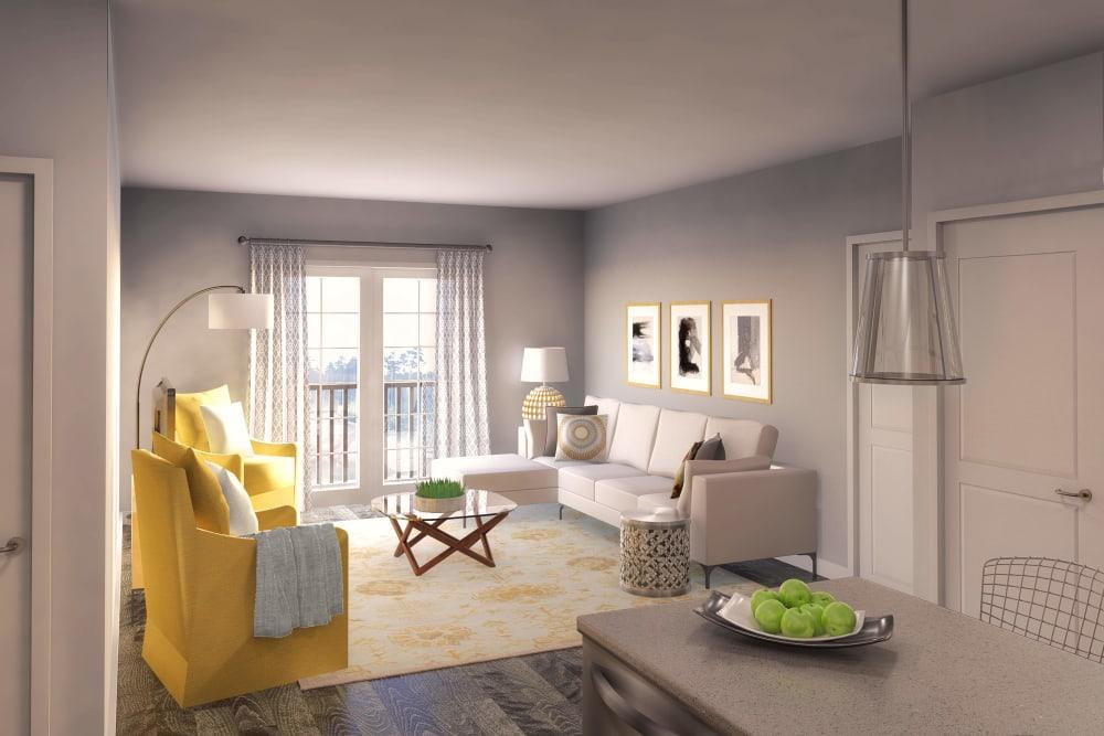 Luxury living room at Ellison Heights Apartments