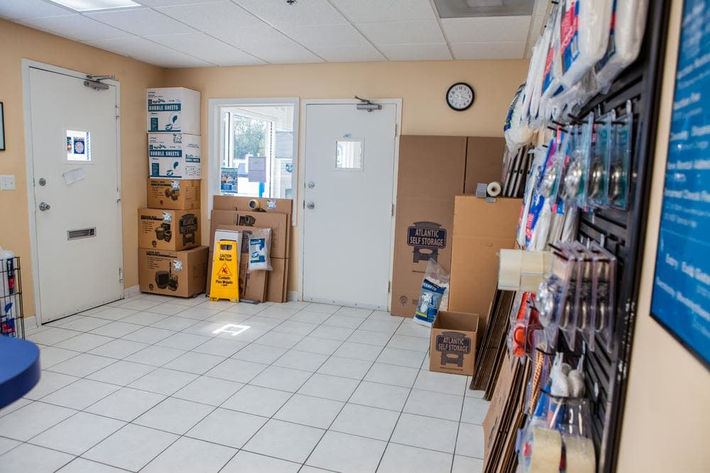 We offer moving boxes and protective moving supplies at Atlantic Self Storage