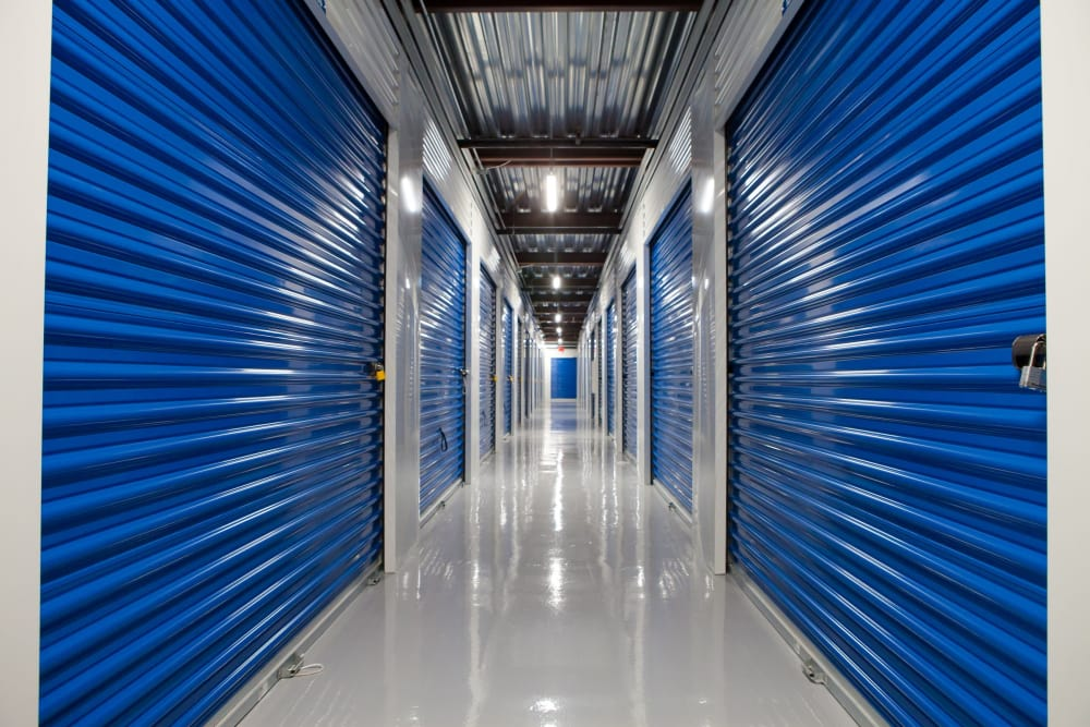 Interior unit hallway at Atlantic Self Storage facility in Atlantic Beach, FL