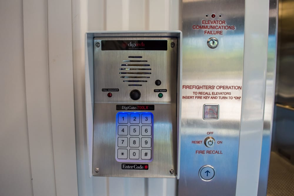 Secure keypad entry at Atlantic Self Storage facility in Atlantic Beach, FL