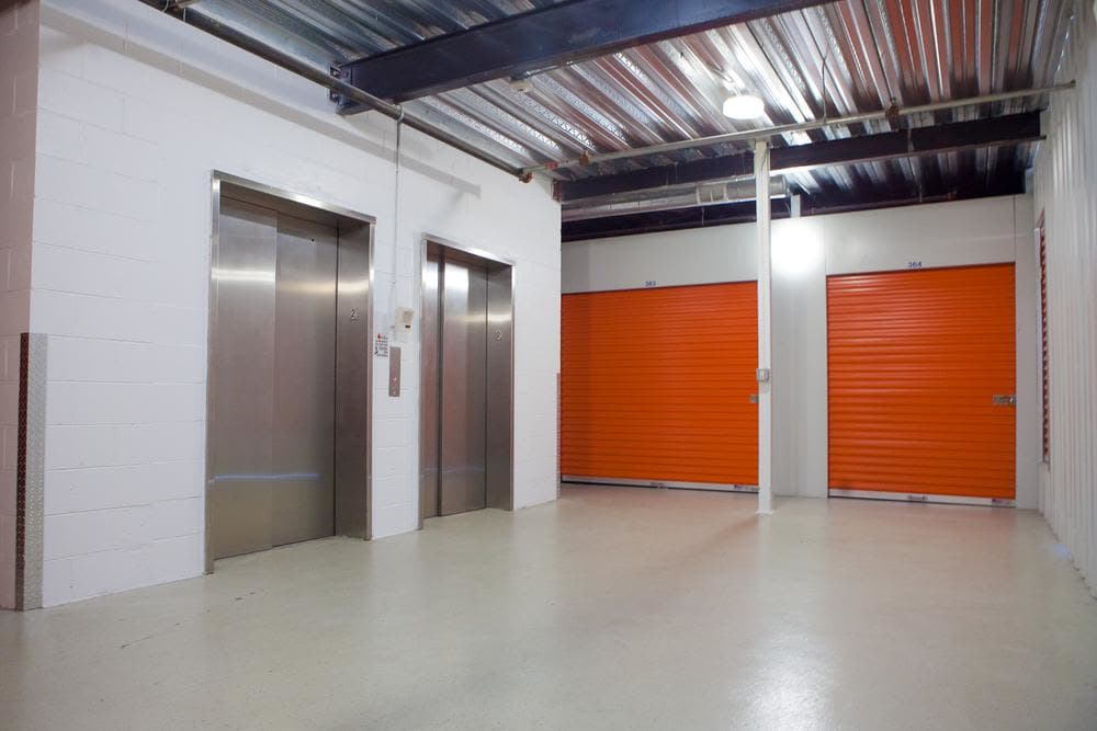 Amplious space inside the building and elevators available at Atlantic Self Storage