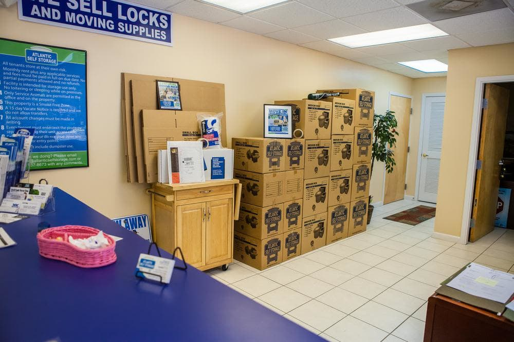 Locks and moving supplies are offered at Atlantic Self Storage