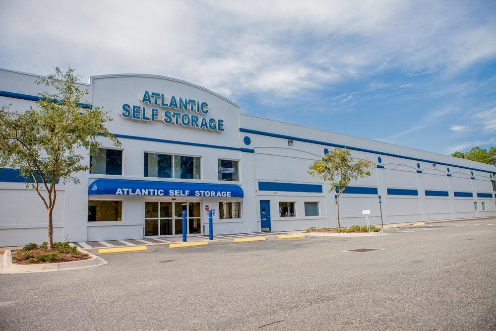 Front entrance and parking lot at Atlantic Self Storage, in Jacksonville
