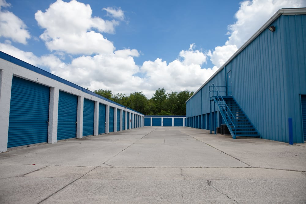 Atlantic Self Storage drive-up units with roll-up doors