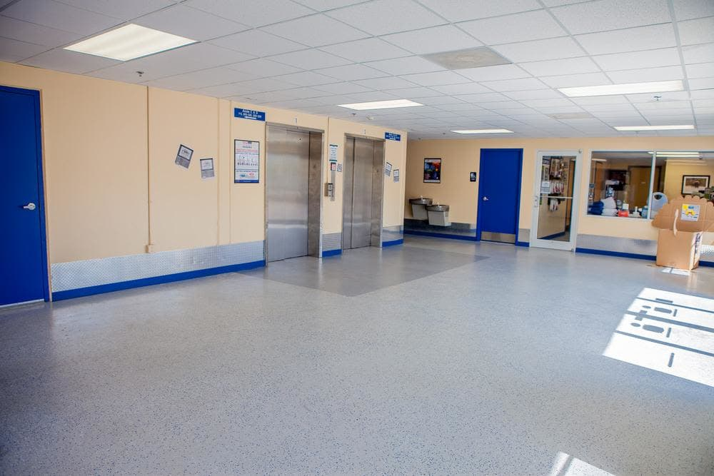 Amplious interior space and elevators available at Atlantic Self Storage