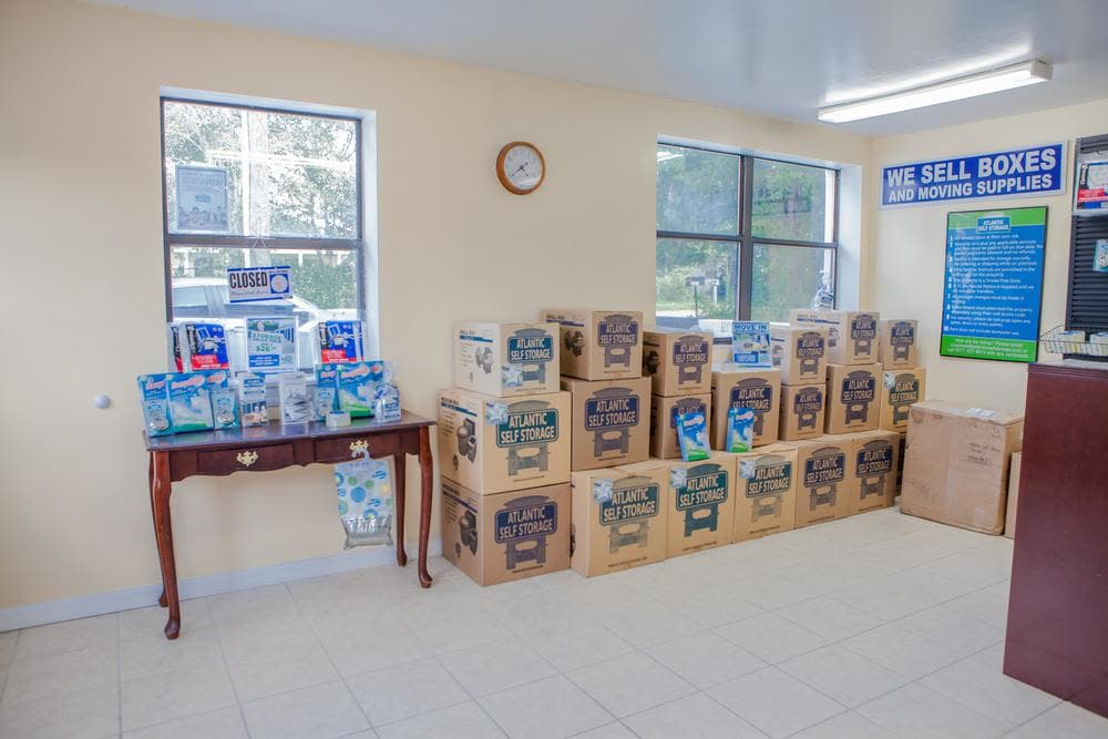 We offer boxes and moving supplies at Atlantic Self Storage