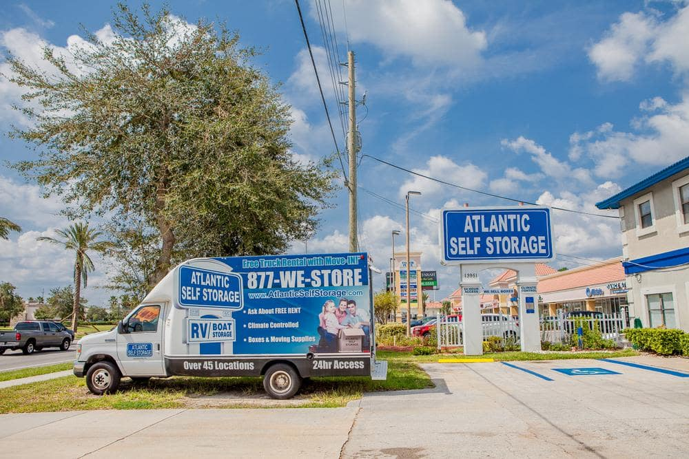 Front entrance and moving truck at Atlantic Self Storage