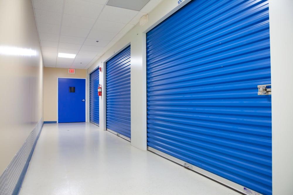Blue roll-up doors at Atlantic Self Storage