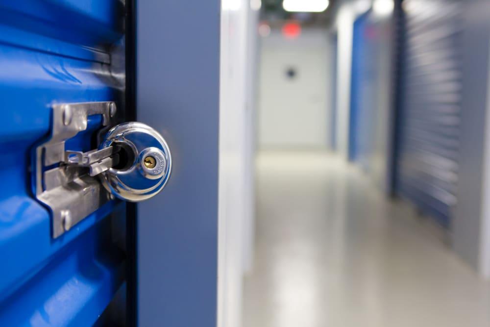 Securely locked storage unit at Atlantic Self Storage