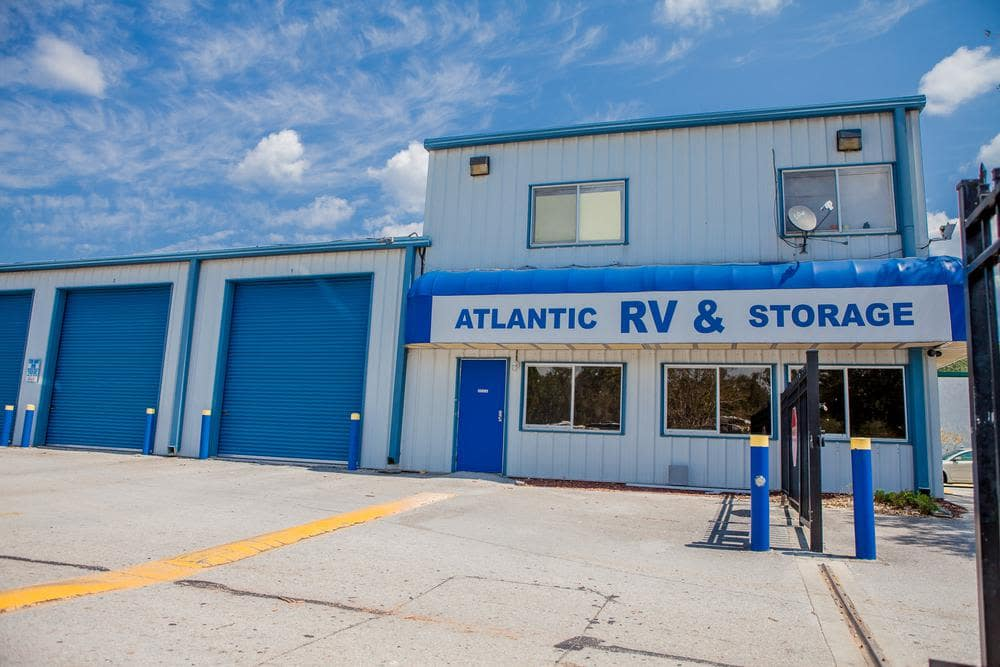 Front entrance and outside units at Atlantic Self Storage