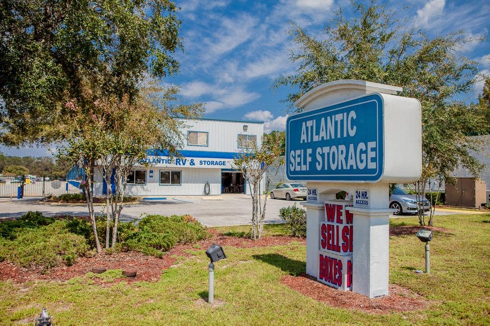 Front entrance and parking lot at Atlantic Self Storage