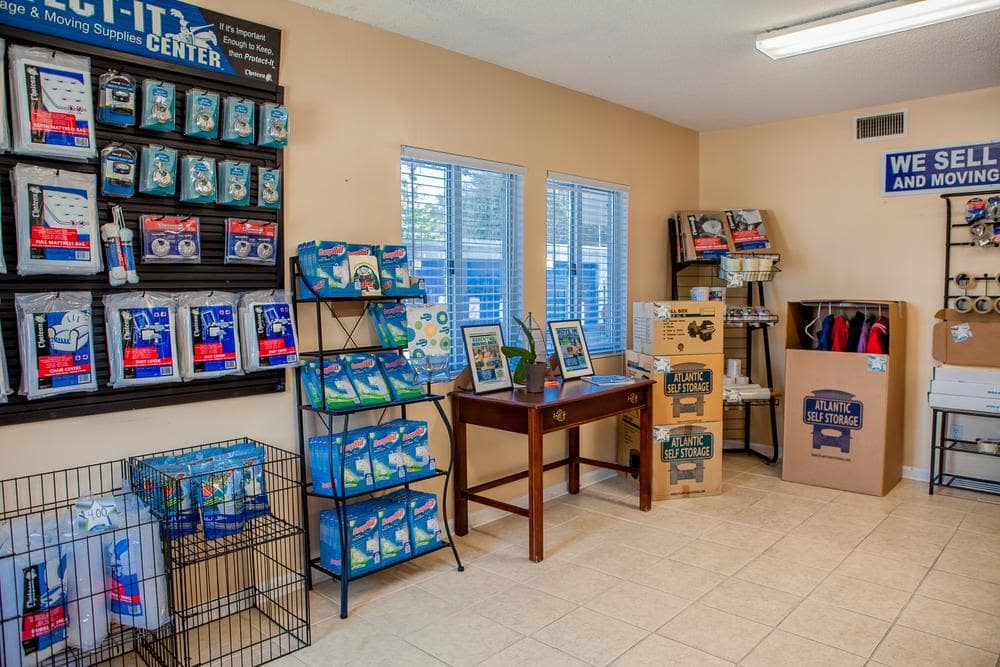We offer locks and moving supplies at Atlantic Self Storage, in Jacksonville