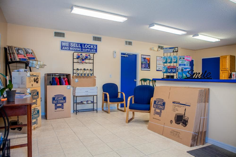 We offer boxes and moving suppplies at Atlantic Self Storage