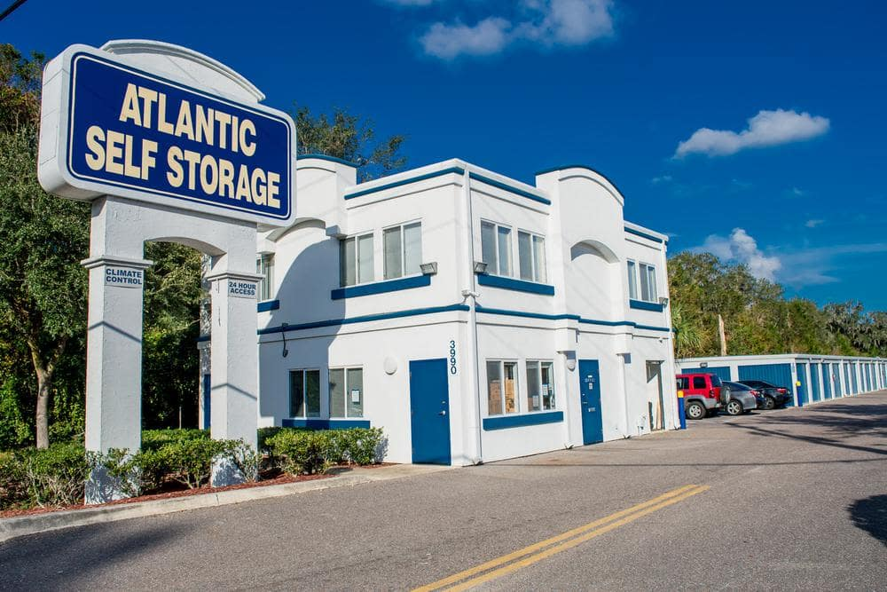Front entrance and parking space at Atlantic Self Storage