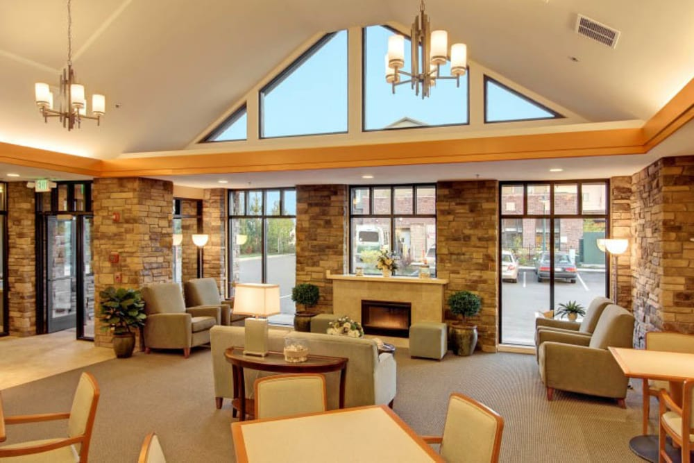 Spacious lobby at Merrill Gardens at Tacoma in Tacoma, Washington.
