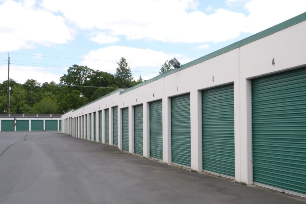 Wide driveway between units at Parkside Mini Storage and RV in Beaverton, Oregon