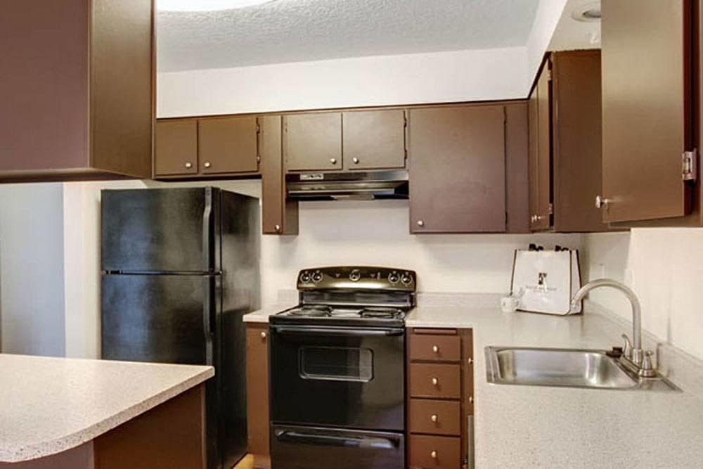 A view of the kitchen at Willow Grove Apartment Homes in Beaverton, OR