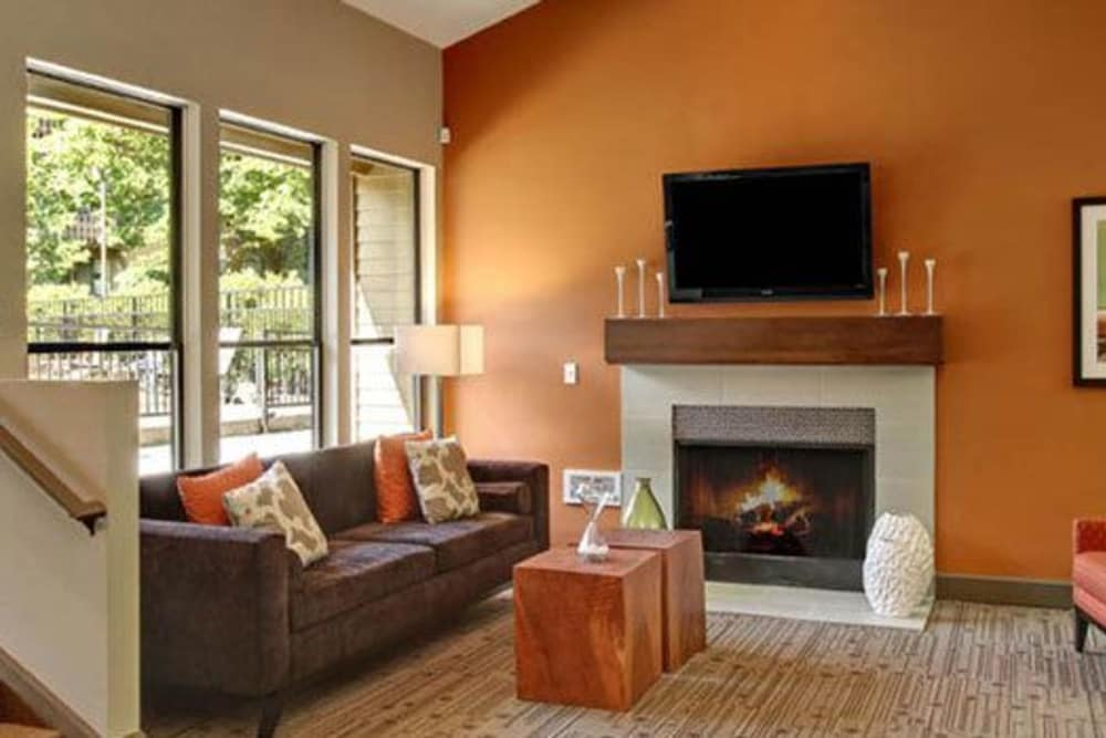 A view of the living room at Willow Grove Apartment Homes in Beaverton, OR