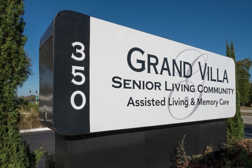 Memorial sign at Grand Villa of DeLand in Florida