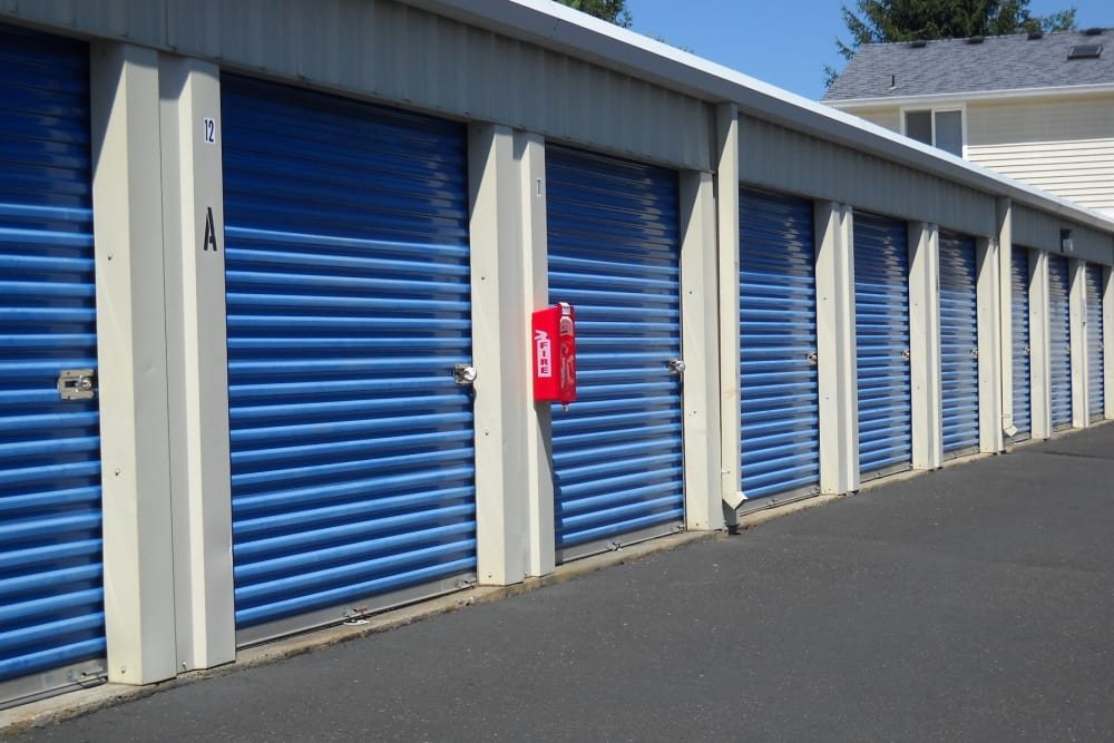 A wide driveway between units at Cascade Park Self Storage in Vancouver, Washington