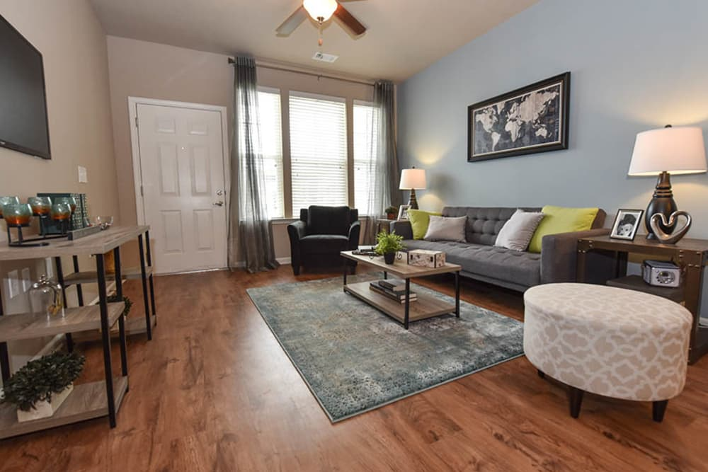 Spacious living room at Springs at Eagle Bend in Aurora, Colorado