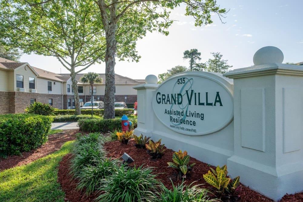 Memorial sign at Grand Villa of Ormond Beach in Florida
