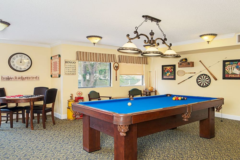 Blue pool table at Grand Villa of Ormond Beach in Florida