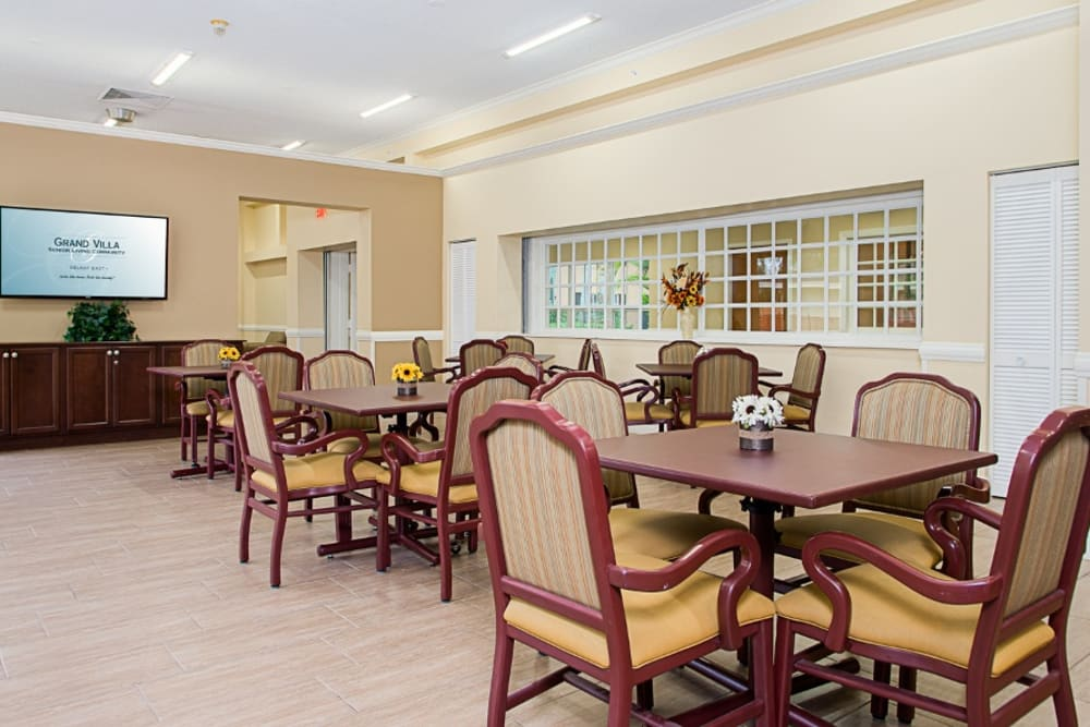 Dining area at Grand Villa of Delray East in Florida
