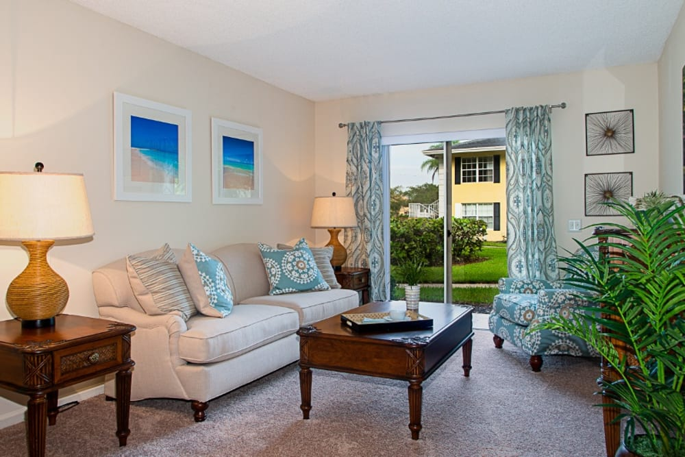 Living room model at Grand Villa of Delray East in Florida