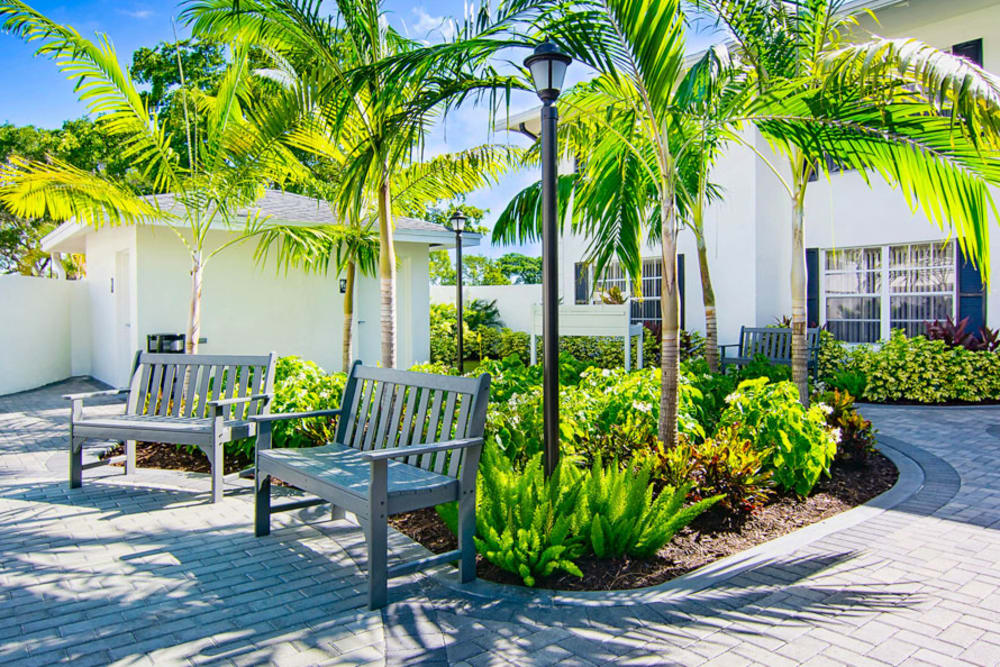 Benches and greenery at Grand Villa of Delray East in Florida
