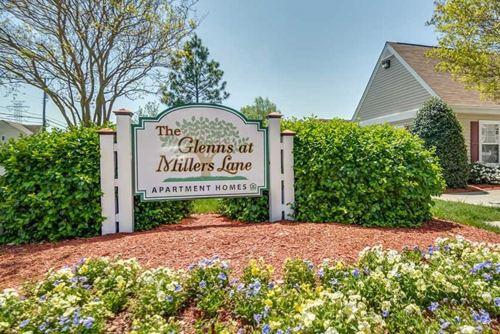 A beautifully manicured landscape at The Glenn's at Millers Lane in Henrico, Virginia