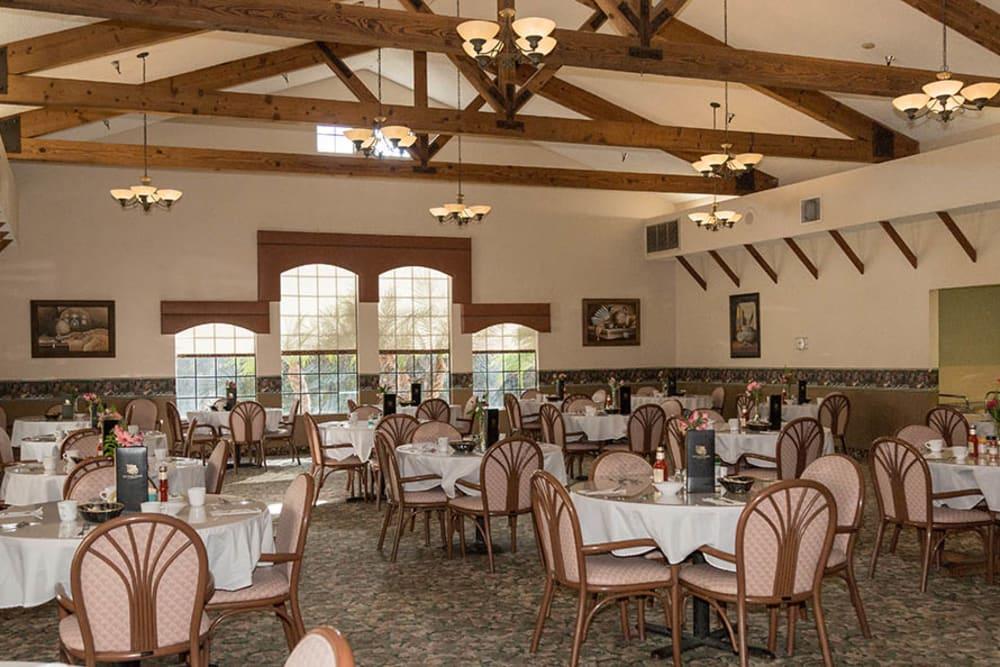 Pre-renovated dining room at Del Obispo Terrace Senior Living in San Juan Capistrano, CA