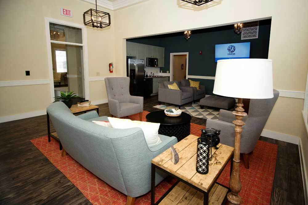 A clubhouse with plenty of comfortable seating at Traditions at Mid Rivers in Cottleville, Missouri