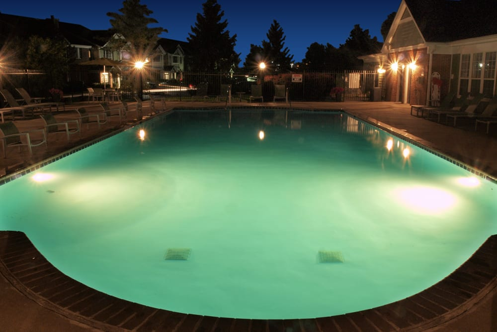 Pool lit at night at Emerald Lakes in Greenwood, Indiana