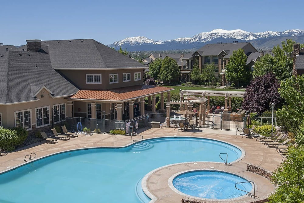 Aerial view of swimming pool and sundeck at The Vintage at South Meadows Condominium Rentals in Reno, Nevada