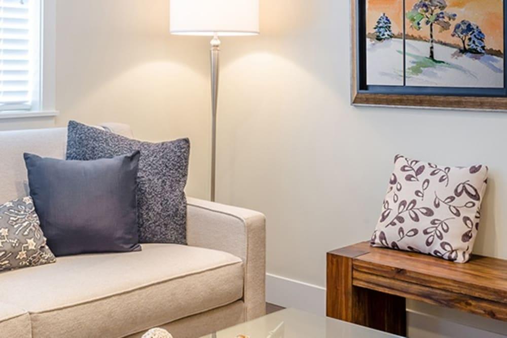 Living room model at Grand Villa of Delray West in Florida