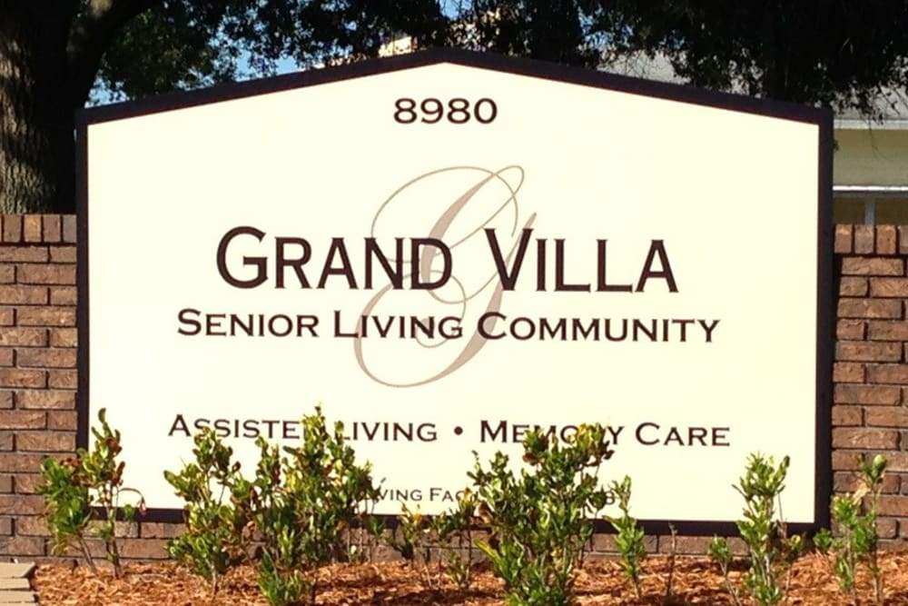 Grand Villa of Pinellas Park memorial sign in Florida