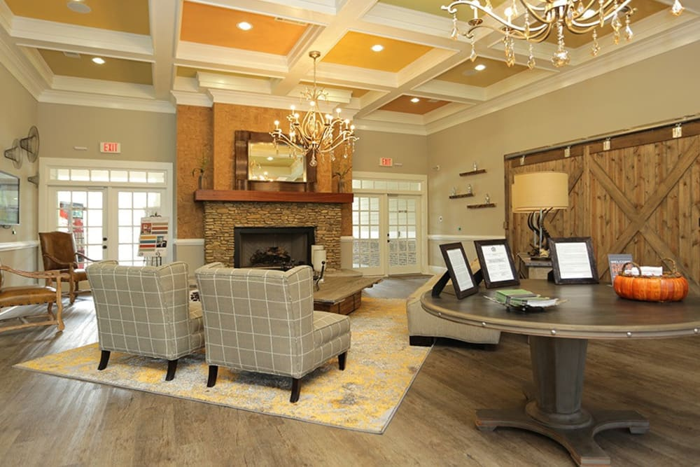 Clubhouse lobby at Panther Riverside Parc Apartments in Atlanta, GA