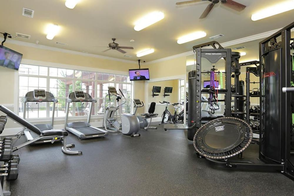 Fitness center at Panther Riverside Parc Apartments in Atlanta, GA