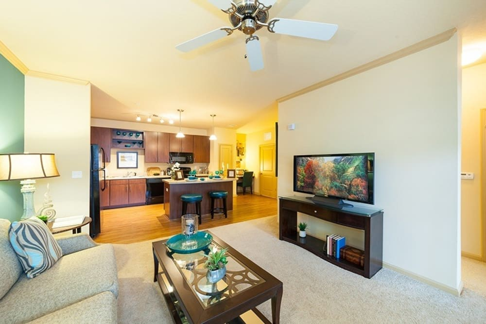 Living room at Integra Hills Apartment Homes in Ooltewah, TN